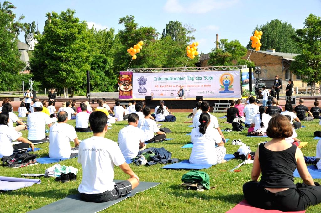 People participate during a Yoga workshop organised by the Embassy of India, Berlin at the Kreuzberger Wiese in Park am Gleisdreieck in Berlin on June 18, 2016.
