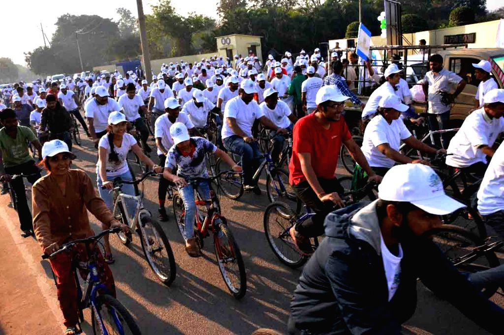 People participate in a cycle rally in Hyderabad on Jan 21, 2018.