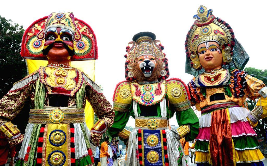 People participate in a procession organised on Mahavir Jayanti in Bengaluru, on April 19, 2016.