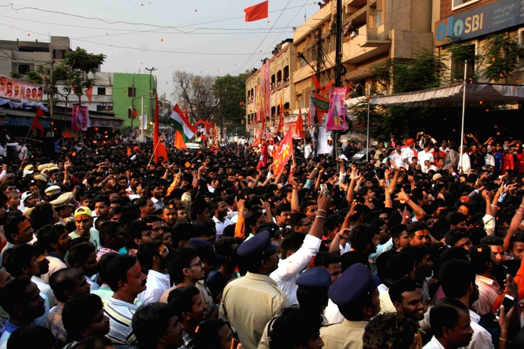 People participate in a procession organised on Ram Navami in Secunderabad on March 25, 2018.