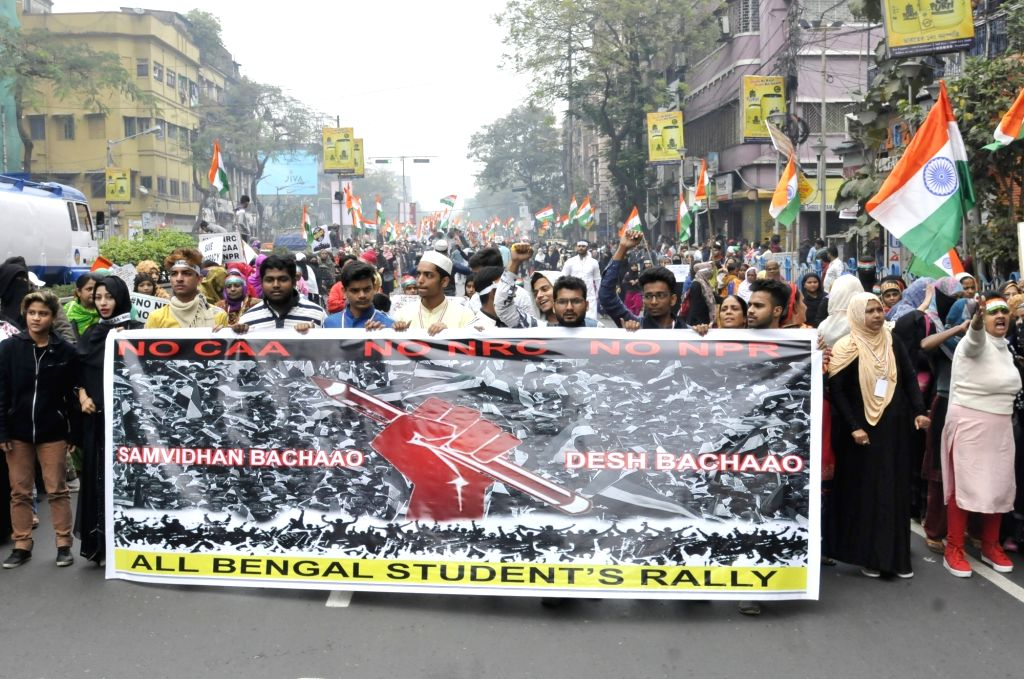People participate in a protest rally against the Citizenship Amendment Act (CAA) 2019, National Register of Citizens (NRC), NPR in Kolkata on Feb 08, 2020.