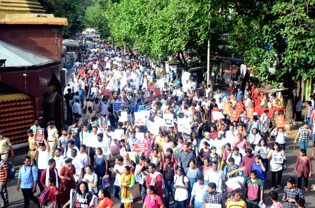 People participate in a rally against mob lynching in Mumbai , on July 3, 2017.