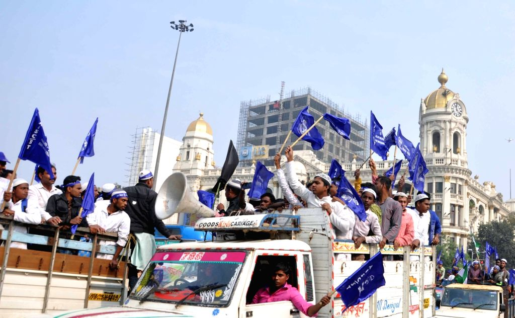 People participate in a rally organised on the 26th anniversary of the Babri Masjid demolition, in Kolkata on Dec 6, 2018.