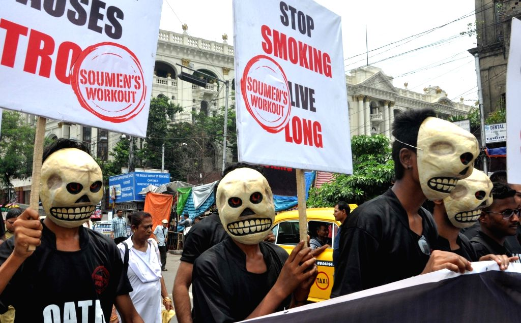 People participate in a rally organised on World No Tobacco Day 2017 in Kolkata, on May 31, 2017.