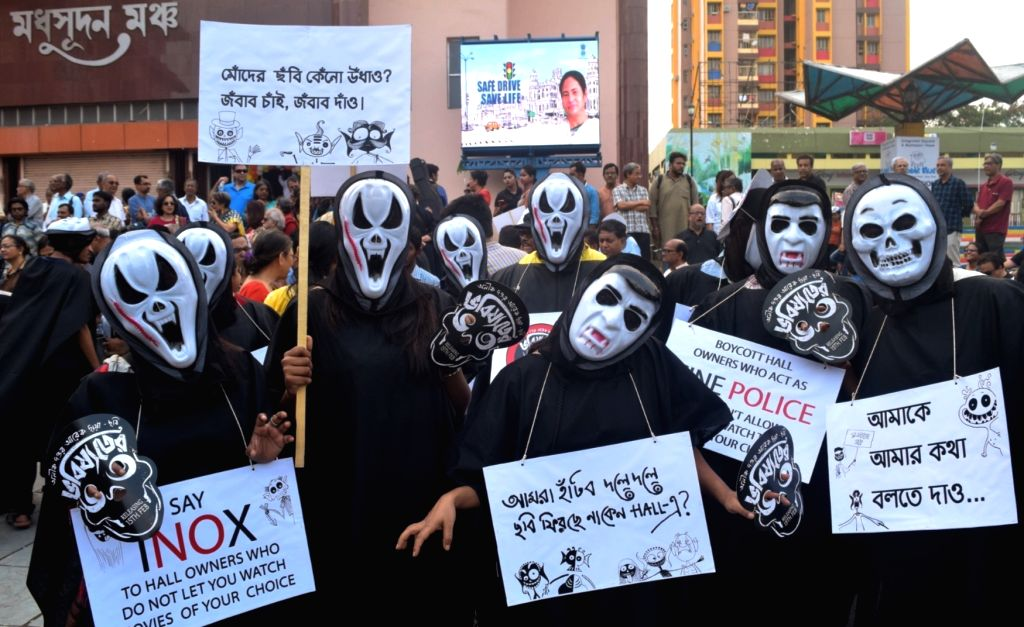 """People participate in a rally organised to protest against the withdrawal of Anik Dutta's film """"Bhobishyoter Bhoot (Ghost of the Future)"""" from almost all multiplexes and ..."""