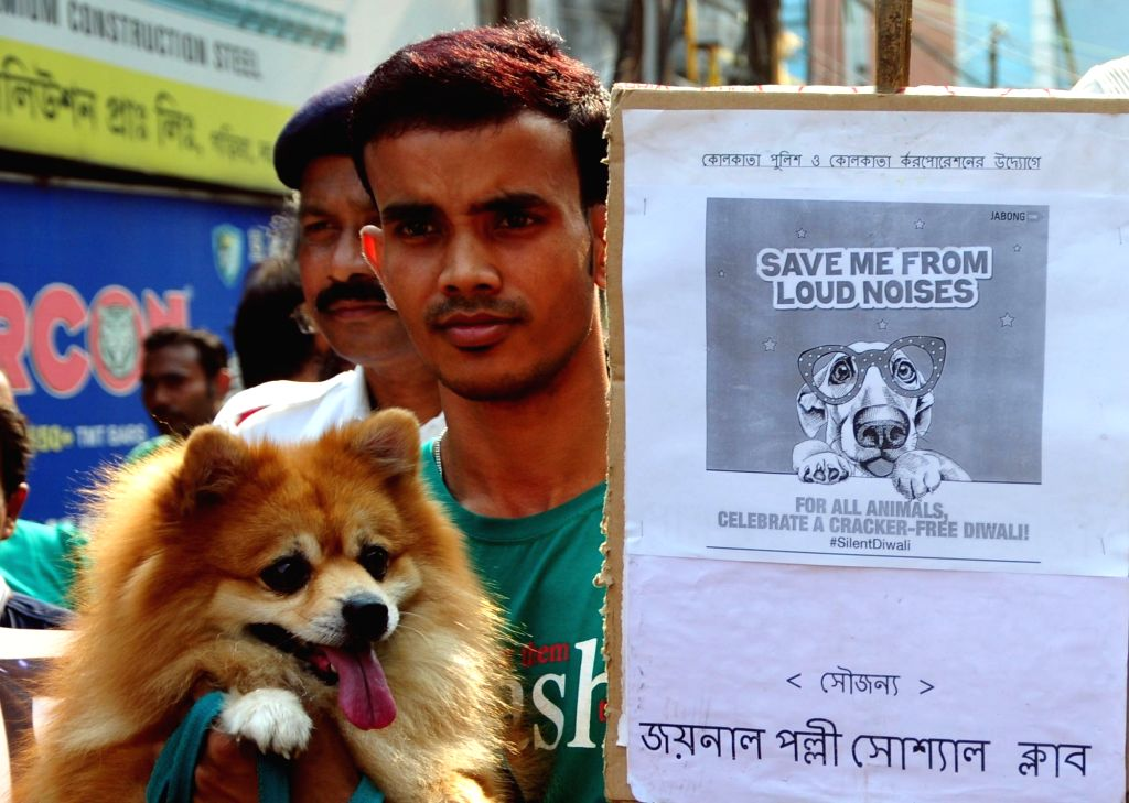 People participate in a rally with their pets, to spread awareness about the adverse effects of noise pollution produced by crackers on animals; ahead of Diwali in Kolkata on Nov 5, 2018.