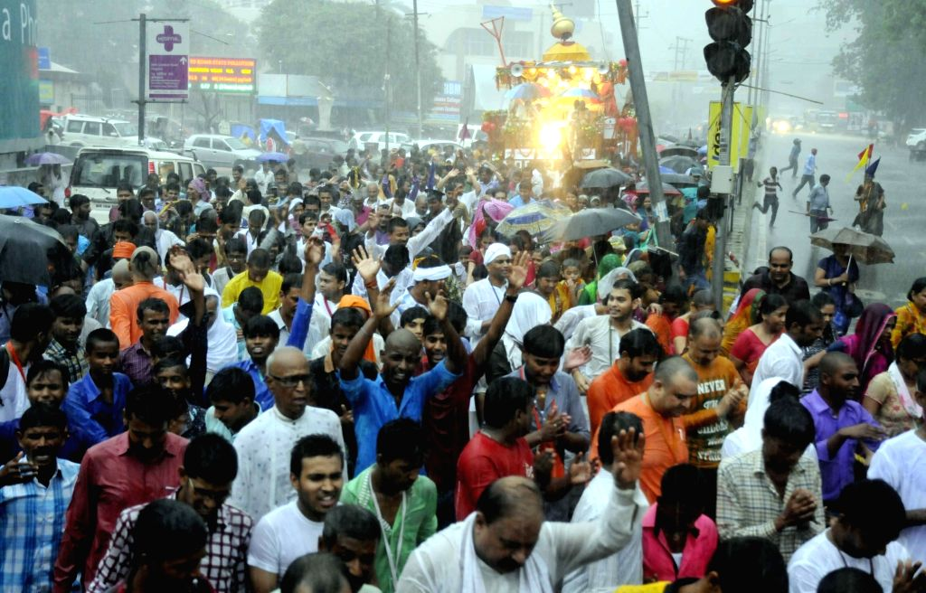 People participate in a Rath Yatra organised by ISKON in Patna on July 6, 2016.
