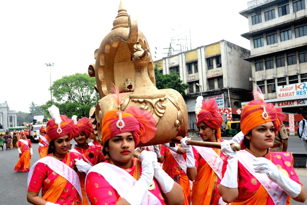 People participate in a religious procession organised on Mahavir Jayanti, in Bengaluru on March 29, 2018.
