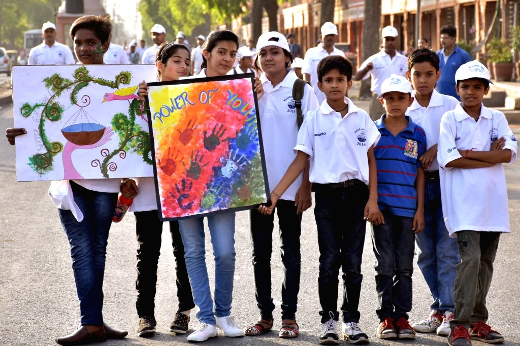 People participate in an awareness rally organised on World Environment Day in Jaipur, on June 5, 2016.