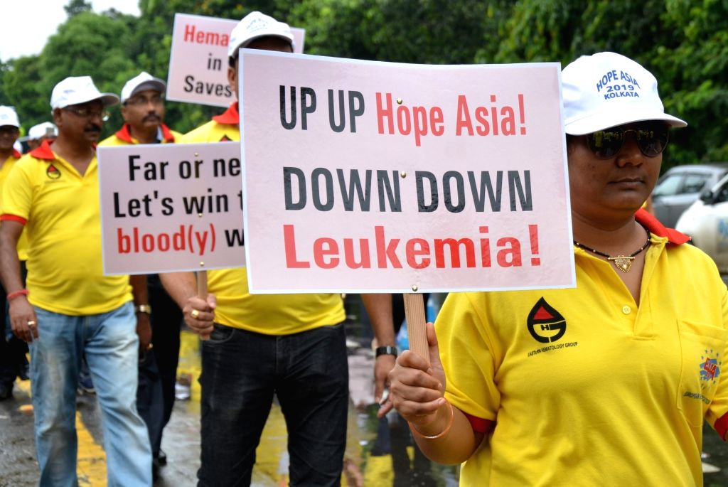 """People participate in an awareness rally """"Walk for Haematology"""" in Kolkata on Aug 25, 2019."""