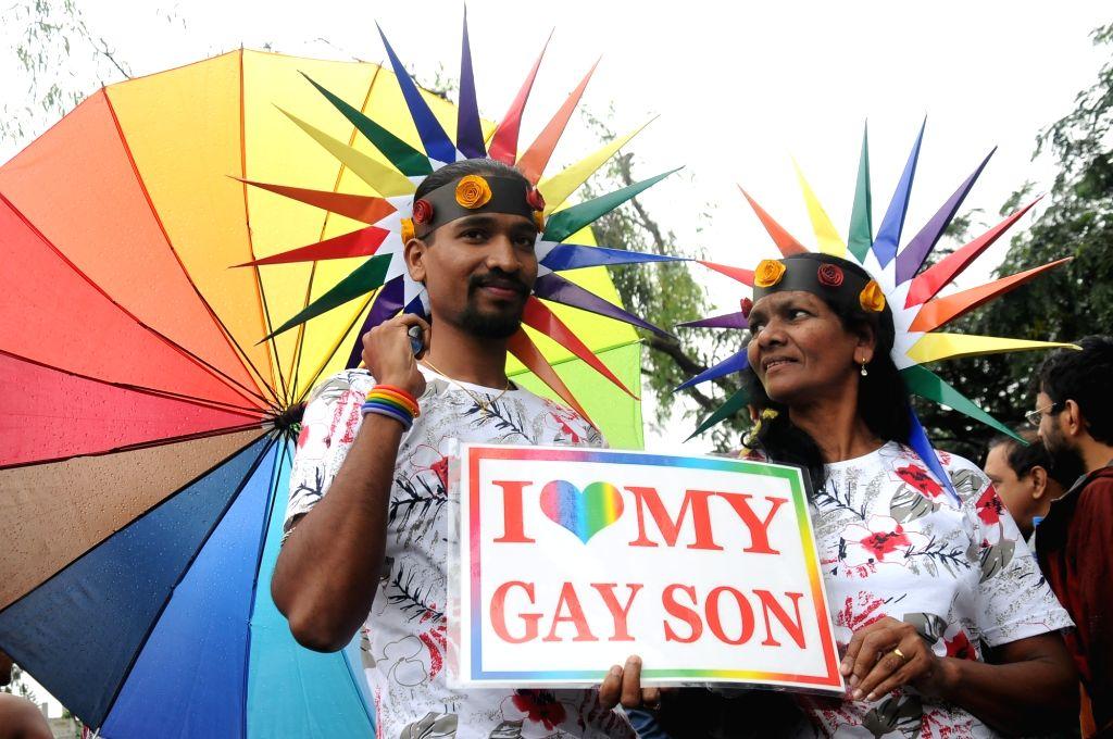 People participate in Bengaluru Pride March and Karnataka Queer Habba 2015 in Bengaluru, on Nov 22, 2015.