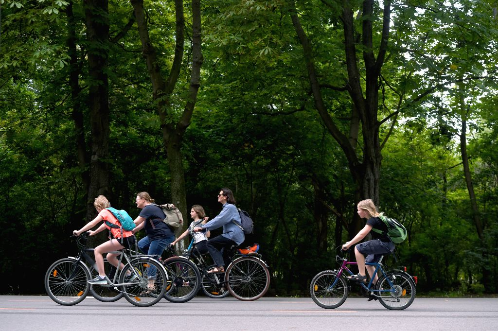 People participate in doing exercises at the Prater Park of Vienna, Austria, on June 24, 2020.