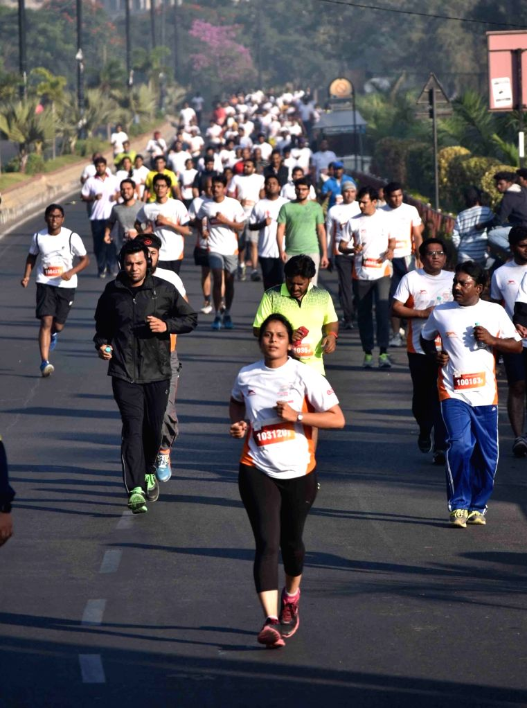 People participate in 'Freedom 10K Run' in Hyderabad, on Nov 27, 2016.