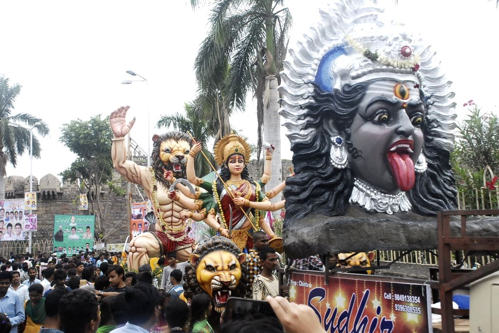 People participate in Golconda Bonalu festival in Hyderabad on Juy 7, 2016.