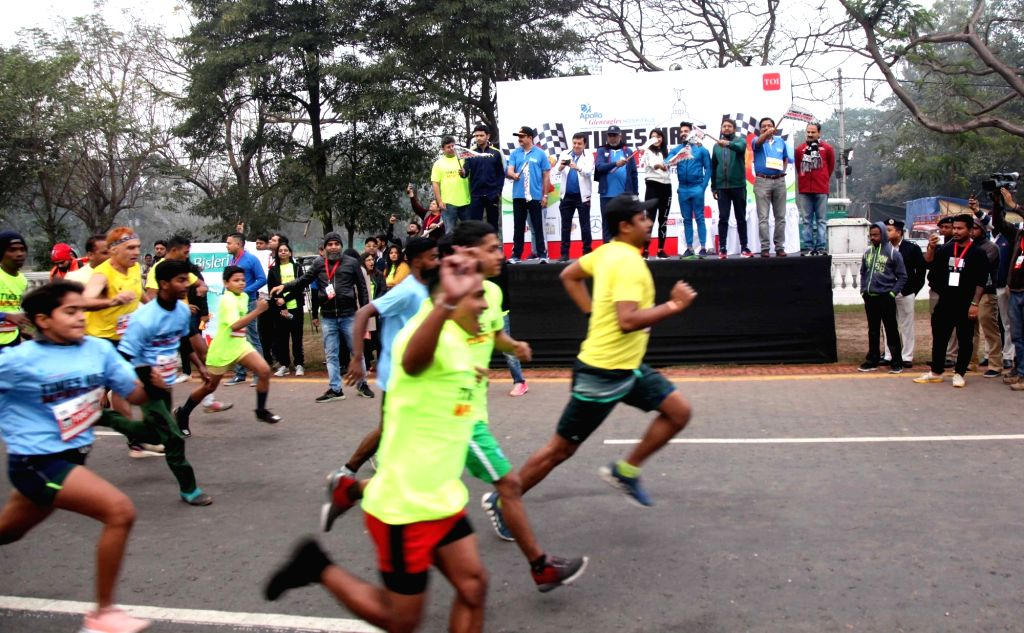 People participate in Half Marathon run in Kolkata on Feb 9, 2020.