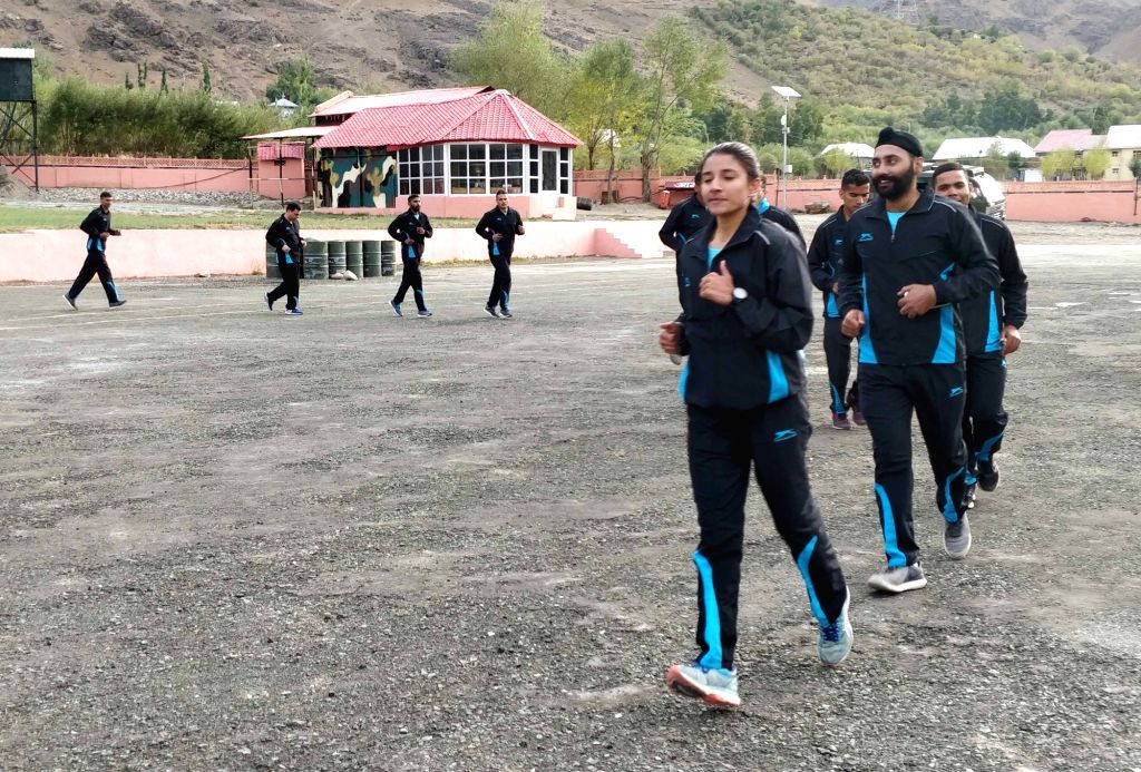 People participate in Kargil to Kohima (K2K) Ultra-Marathon- ???Glory Run??? at Kargil War Memorial in Drass, on Sep 21, 2019.