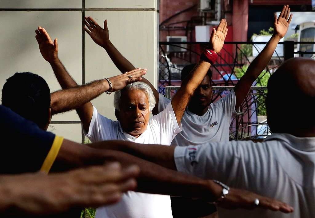 People participate in rehearsal ahead of third International Day of Yoga in Mumbai on June 20, 2017.