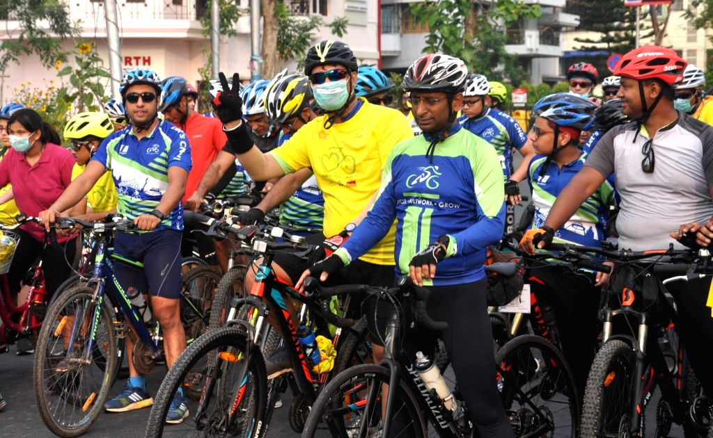 "People participate in ""Ride to Zero Emission"" awareness campaign on the eve of World Bicycle Day, in Kolkata, on June 2, 2019. World Bicycle Day is celebrated on 3th June annually."