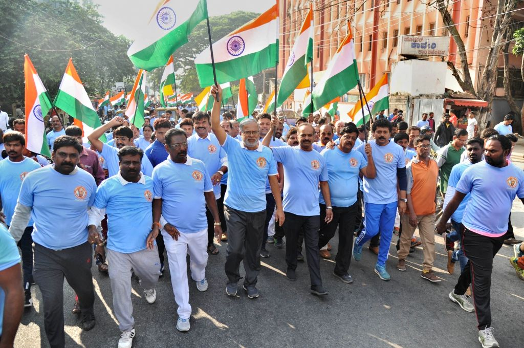 People participate in 'Run for Unity' marathon organised on the birth anniversary of the country's first Home Minister Sardar Vallabhbhai Patel in Bengaluru on Oct 31, 2018. - Sardar Vallabhbhai Patel