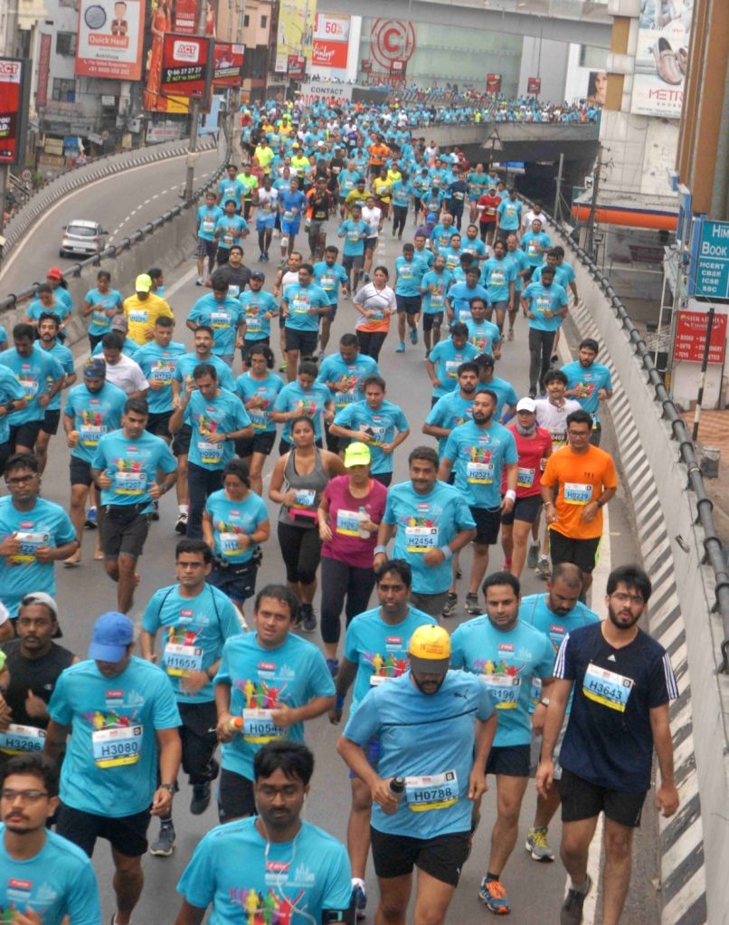 People participate in seventh Edition of Airtel Hyderabad Half Marathon 2017 from People's Plaza to Gachibowli Indoor Stadium in Hyderabad on Aug 20, 2017.