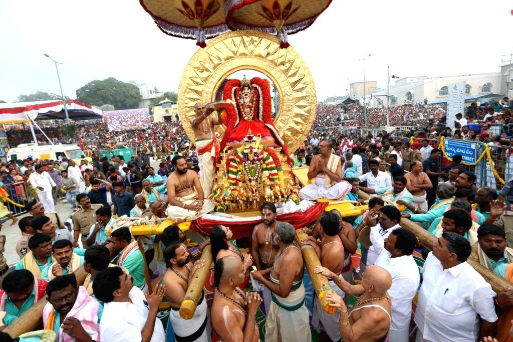 People participate in Surya Jayanti celebrations in Andhra Pradesh's Tirumala on Feb 1, 2020.