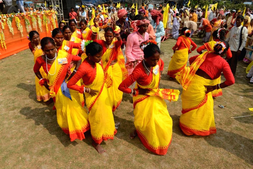People participate in the All India Kirtan and Baul Singers Association program at Sahid Minar Ground, in Kolkata on Tuesday 02nd March 2021.