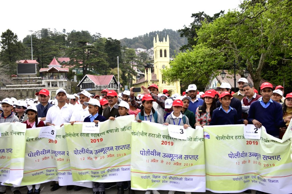 People participate in the week-long polythene eradication programme -  'Polythene Hatao-Paryavaran Bachao' campaign in Shimla, on April 12, 2019.