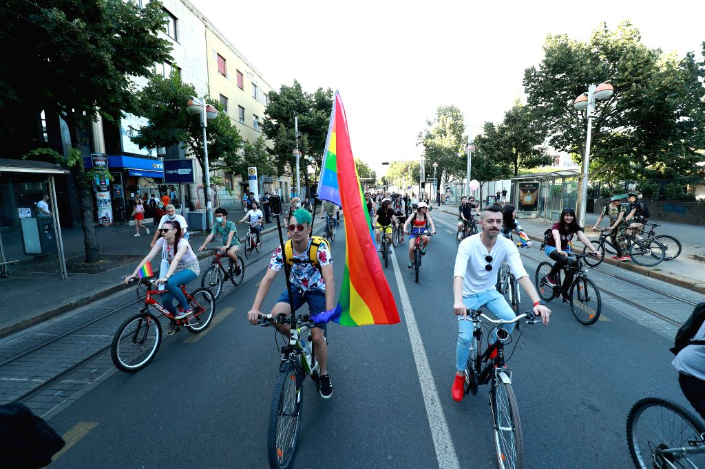 People participate in the Zagreb Pride Ride in support of LGBTQ groups in Zagreb, Croatia, on July 4, 2020.