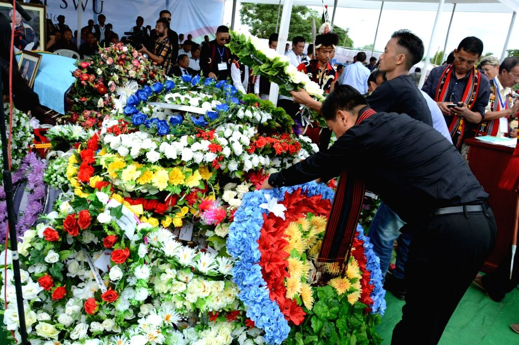 People pay homage to Naga rebel leader Isak Chishi Swu at Dimapur in Nagaland on June 30, 2016.  Isak Chishi Swu died at a Delhi hospital on 28 June.