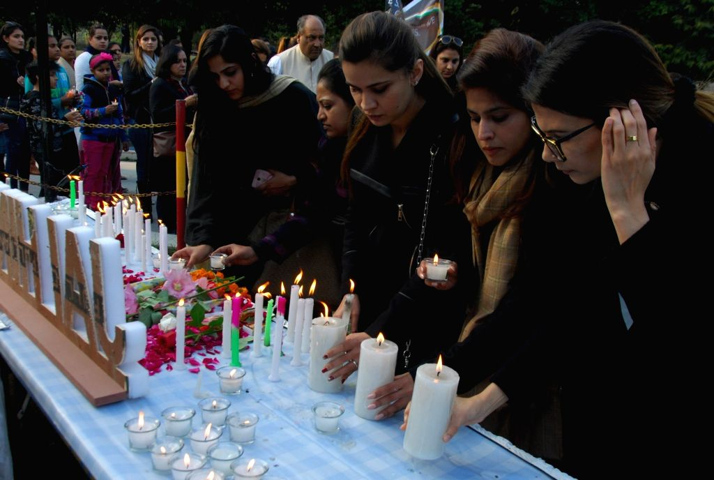People pay tribute to the 49 CRPF men killed in 14 Feb Pulwama militant attack, in Amritsar on Feb 16, 2019.