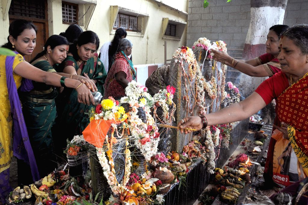 People perform rituals on Nagara Panchami in Bangalore on August 1, 2014.