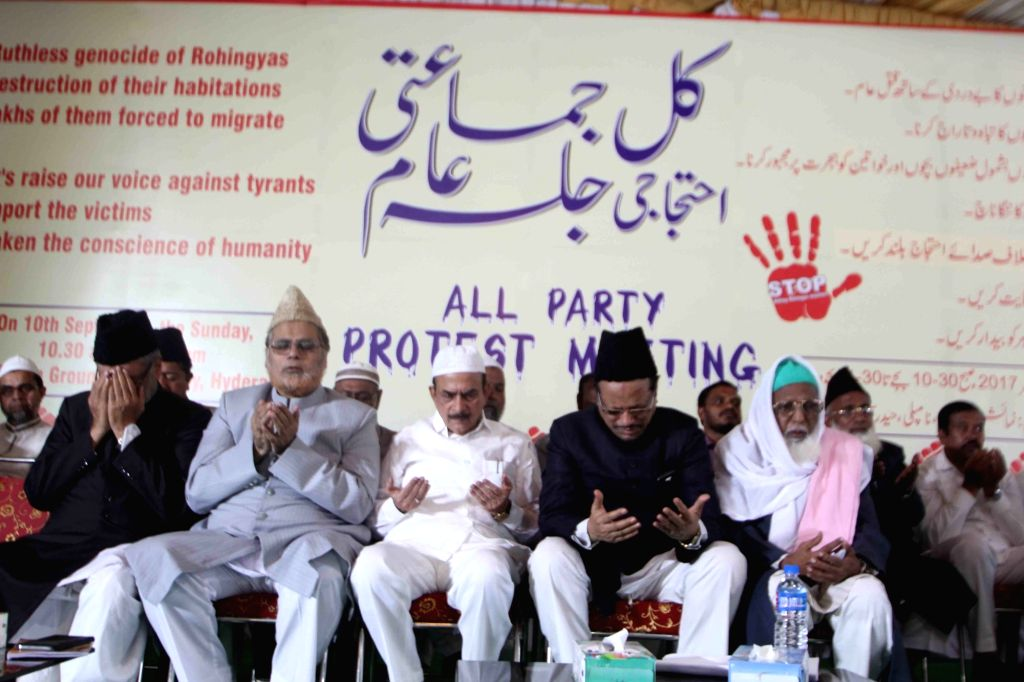 People pray for the well-being of the Rohingya muslims during the Muslim Organisation's All Party protest meet  in Hyderabad on Sept 10, 2017.