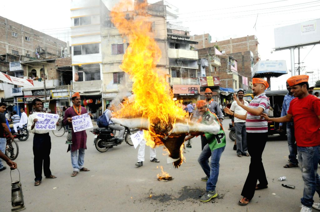 People protest against shortage of electricity in Patna on Sept 9, 2014.