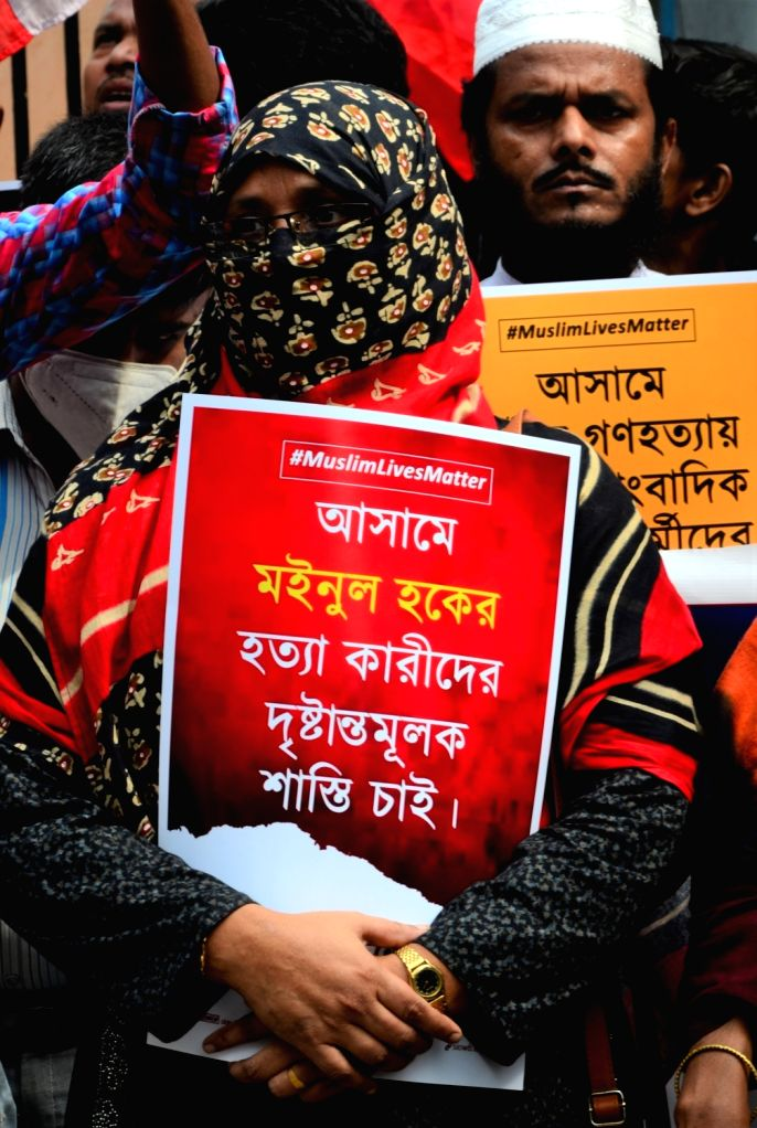 People protest and demonstrate against Assam Government over violence in an eviction drive at Assam, in Kolkata on Saturday September 25,2021.(PHOTO:KUNTAL CHAKRABARTY)