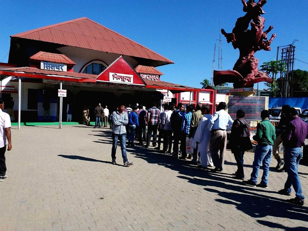 People queue to witness historic flag off of the first passenger train from Silchar on November 21.