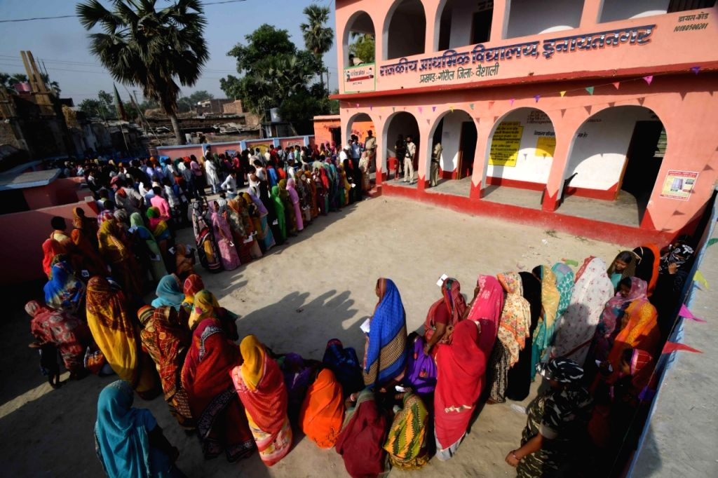 People queue up to cast their votes during the sixth phase of 2019 Lok Sabha elections, in Vaishali, Bihar on May 12, 2019.