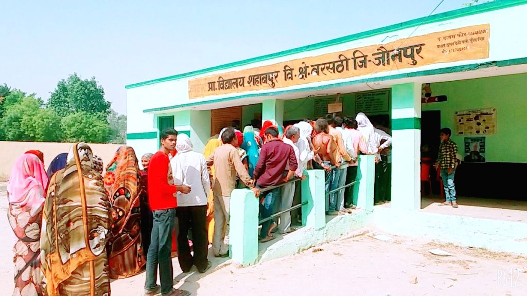 People queue up to cast their votes during the sixth phase of 2019 Lok Sabha elections, in Jaunpur, Uttar Pradesh on May 12, 2019.