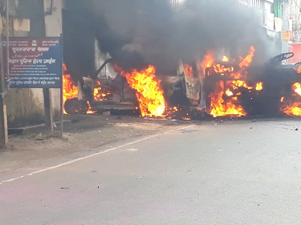 People's anger erupted again in Munger, SP office destroyed, police station attacked.