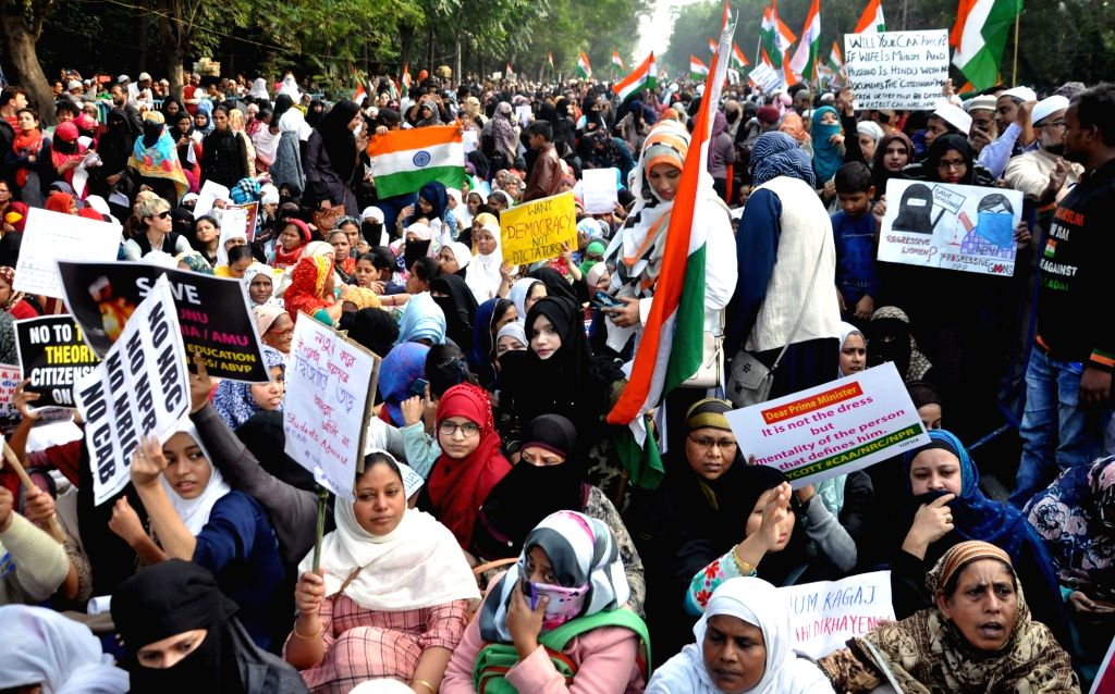 People stage a demonstration against Citizenship Amendment Act (CAA) 2019, National Register of Citizens (NRC) and National Population Register (NPR), expressing solidarity with JNU ...