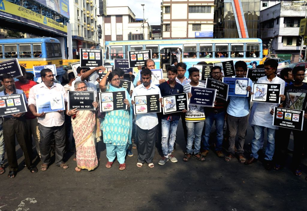 People stage a demonstration against hike in fuel prices in front of Indian Oil Corporation in Kolkata, on May 24, 2018.