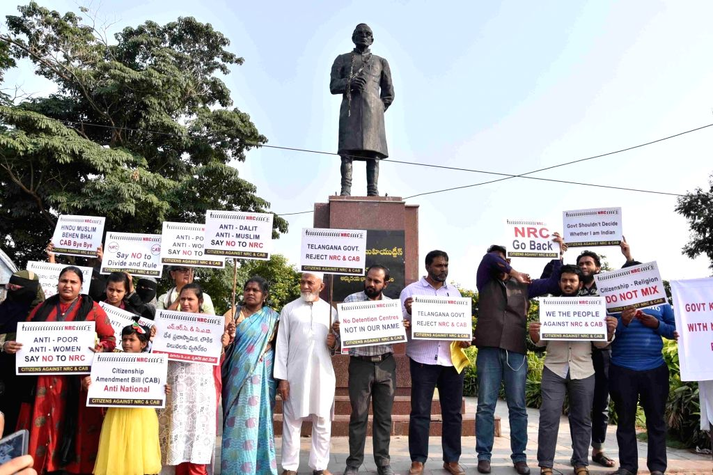 People stage a demonstration against National Register of Citizens (NRC) and Citizenship (Amendment) Bill, or CAB, in Hyderabad on Dec 8, 2019.