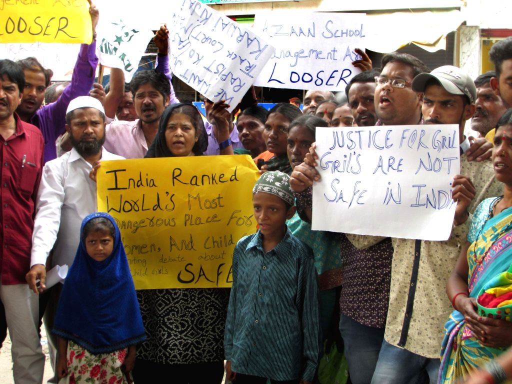 People stage a demonstration against rape of a minor in Hyderabad on Sept 17, 2018.