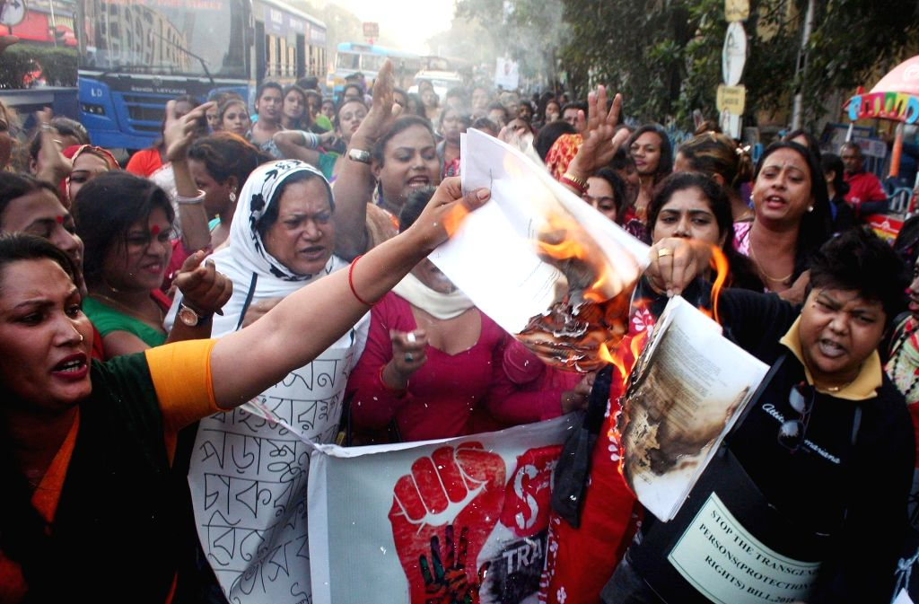 People stage a demonstration against the Transgender Persons (Protection of Rights) Bill, 2018 that was passed by the Lok Sabha, but is yet to be passed in the Rajya Sabha; in Kolkata on Dec ...