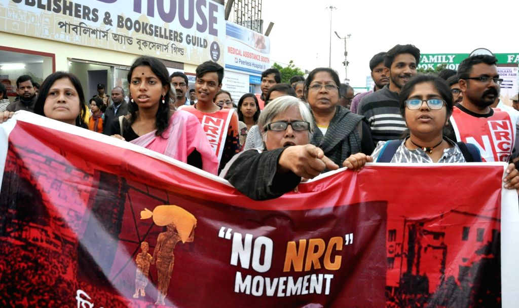 People stage a demonstration against the Citizenship Amendment Act (CAA) 2019, National Register of Citizens (NRC) and National Population Register (NPR) at the 44th International Kolkata ...