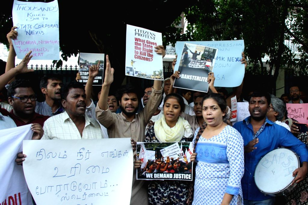 People stage a demonstration against the death of nine persons in police firing during the ongoing anti-Sterlite protests in Tamil Nadu's Toothukudi; in New Delhi on May 23, 2018.