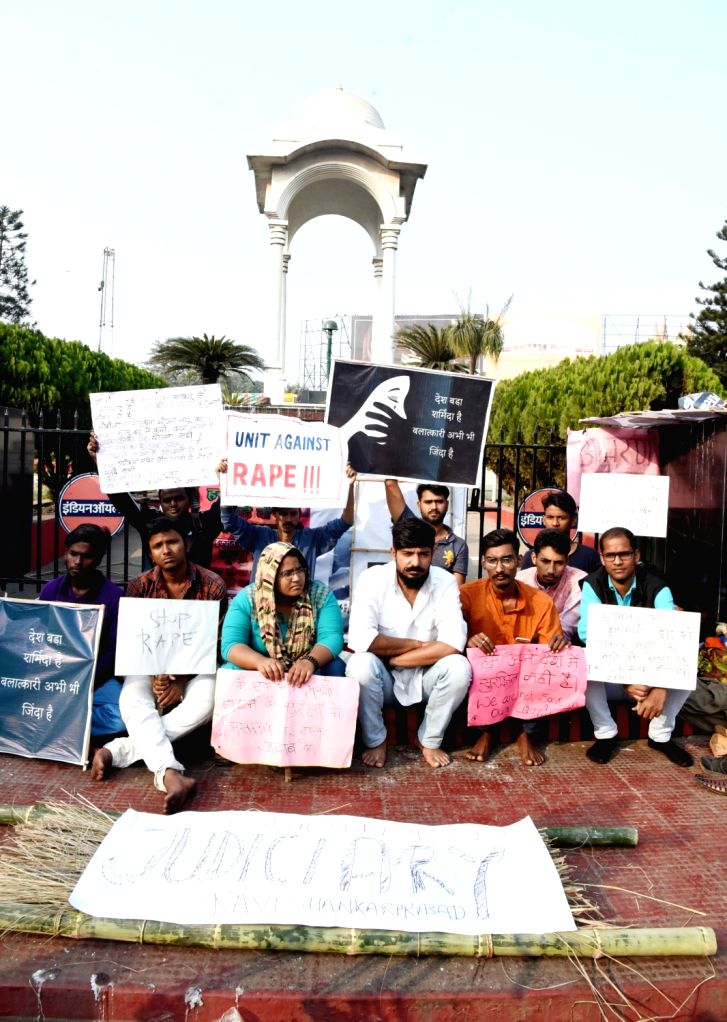 People stage a demonstration against the gruesome gang rape and murder of a woman veterinarian in Hyderabad; in Patna on Dec 3, 2019.