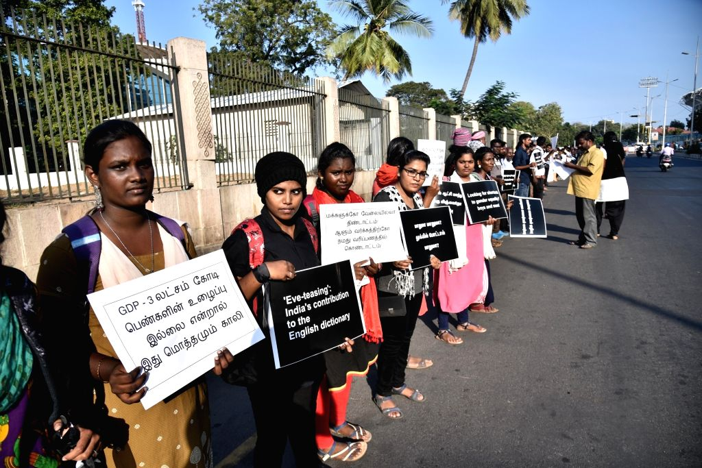 People stage a demonstration against the Pollachi serial sexual abuse-cum-blackmail case, in Chennai. Four persons have been accused of sexually assaulting women in Pollachi and filming the ...