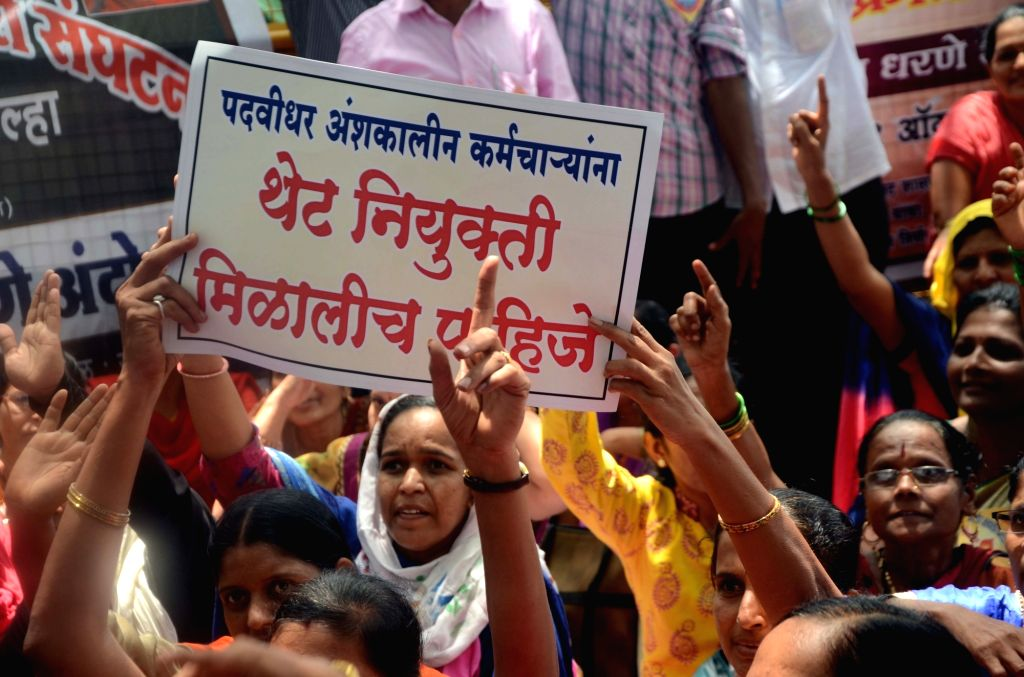 People stage a demonstration to press for their various demands at Azad Maidan, CST in Mumbai on Aug 1, 2017.