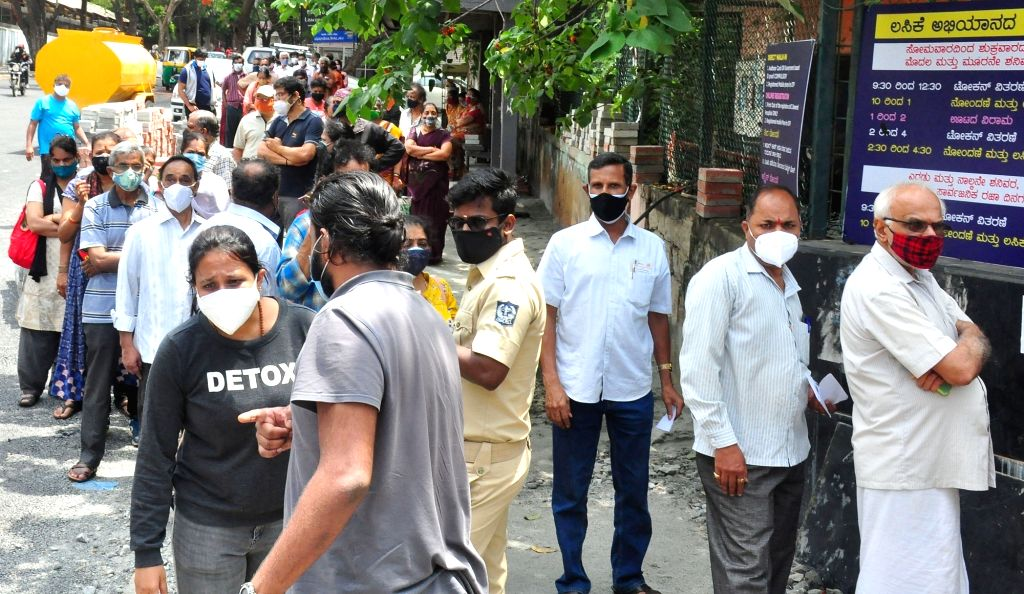 People standing in a line at KC General Hospital, during COVID-19 vaccination drive, in Bengaluru on Wednesday 26th May 2021.