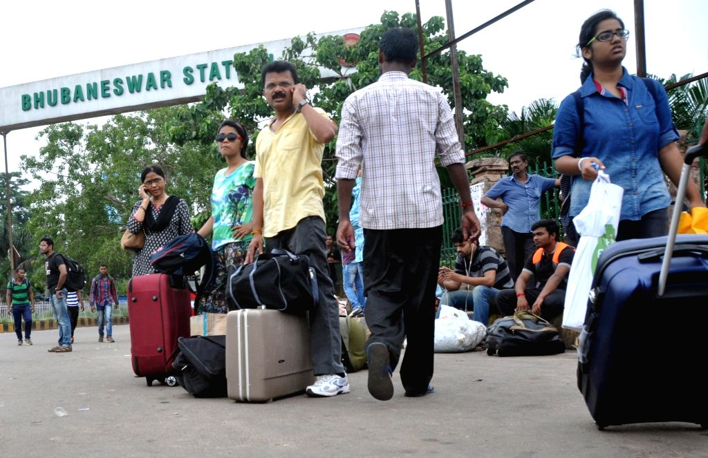 People stranded at Bhubaneswar railway station during Odisha Bandh called by Congress to protest against construction of barrages in the upper catchment areas of Mahanadi in Bhubaneswar ...